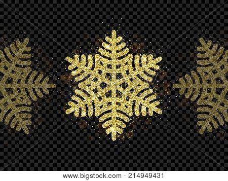 Christmas Golden Snowflake Glitter Pattern Black Background Vector Gold Shine Sparkle Snow Decoratio