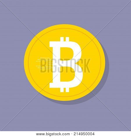 Bitcoin. Digital currency. Cryptocurrency. Golden coin with bitcoin symbol and soft shadow. Stylized bitcoin sign on golden coin
