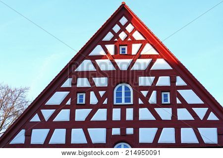 gable of a medieval half-timbered house restaurated