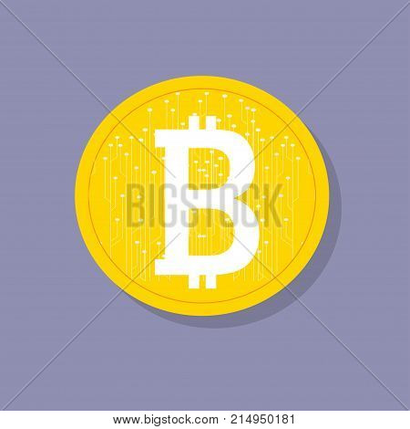 Bitcoin. Digital currency. Cryptocurrency. Golden coin with bitcoin symbol and soft shadow. Bitcoin with digital wires