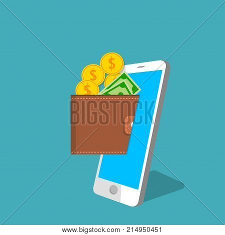 vector digital mobile wallet vector concept . smartphone screen with wallet golden coins and banknotes. Internet banking or wireless money transfer concept