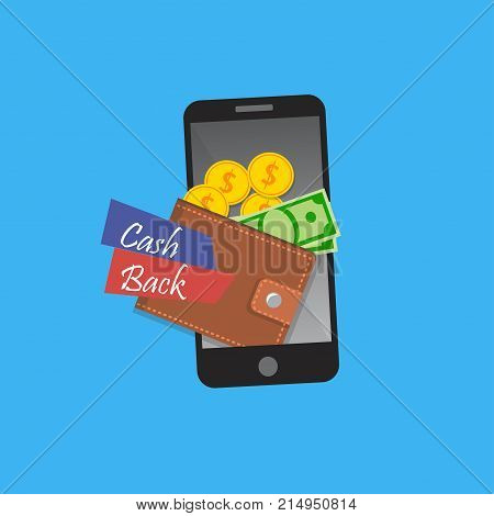 Vector illustration of mobile banking. Cashback or refund app. Smarphone with mobile wallet. Ecommerce