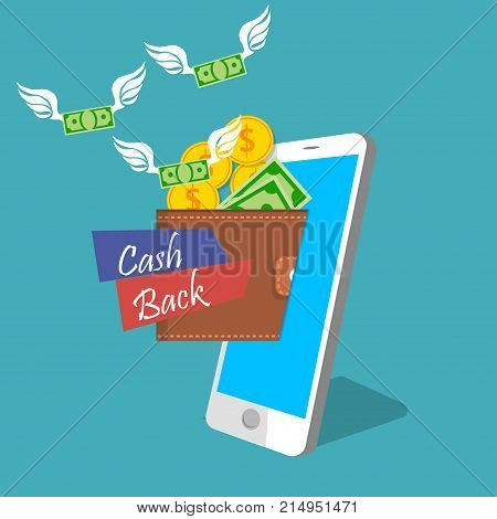 vecot illustration of mobile money earning or income. Money flyes in mobile wallet. Wallet and baknotes with wings on smarphone screen