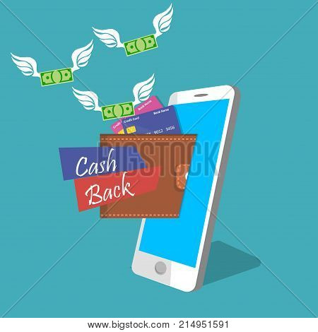 vector digital mobile wallet with cashback or refund . smartphone screen with wallet and credit cards. Internet banking or wireless money transfer concept. Flying money