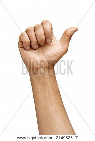 Man's hand showing one finger isolated on white background. Sign - number one. Close up. High resolution product