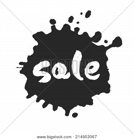 Calligraphy hand written Sale word inside a black inky blot. Based on ink and brush artwork. Isolated on white background. Clipping paths included.