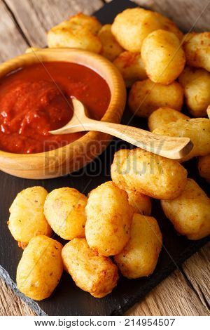 Homemade Tater Tots With Tomato Sauce Close Up. Vertical