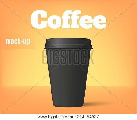 Realistic coffee cup. Black paper cup mockup. Vector illustration