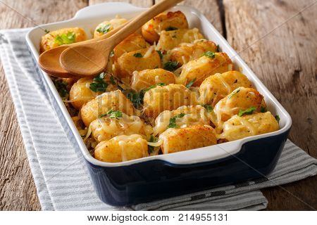American Food: Tater Tots With Cheese, Meat, Corn And Parsley Close-up. Horizontal