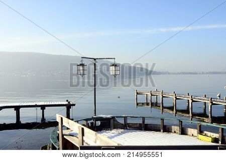 Large view of Annecy lake and mountains from Veyrier pontoon France