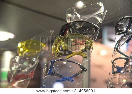 Several protective glasses for professional workers in the storefront