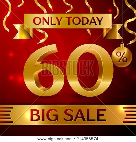 Realistic banner Merry Christmas with text Big Sale only today sixty percent for discount on red background. Confetti, christmas ball and gold ribbon. Vector Illustration