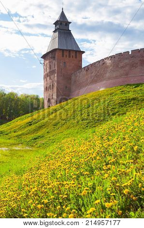 Veliky Novgorod Russia. Architecture landscape of Saviour Tower of Veliky Novgorod Kremlin Russia in sunny summer day