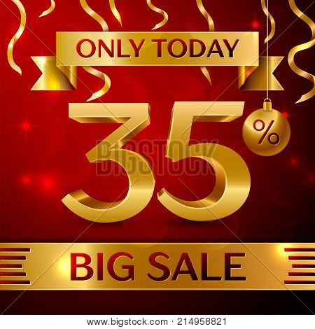Realistic banner Merry Christmas with text Big Sale only today thirty five percent for discount on red background. Confetti, christmas ball and gold ribbon. Vector Illustration