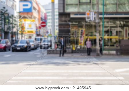 Abstract Blur Of People Waiting For Cross The Road