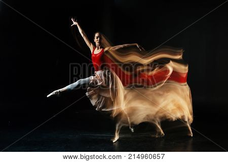 Professional skills. Attractive nice female dancer dancing and being involved in the activity while performing