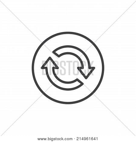 Reload two arrows in circle line icon, outline vector sign, linear style pictogram isolated on white. Process refresh symbol, logo illustration. Editable stroke