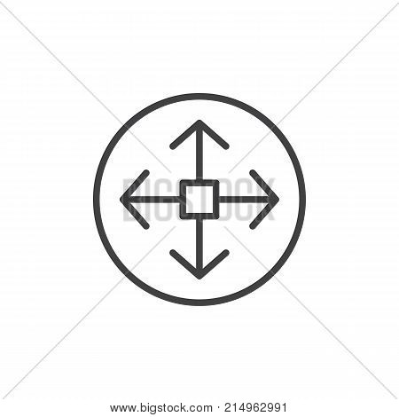 Remote controller joystick line icon, outline vector sign, linear style pictogram isolated on white. Navigation symbol, logo illustration. Editable stroke