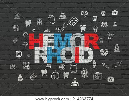 Healthcare concept: Painted multicolor text Hemorrhoid on Black Brick wall background with  Hand Drawn Medicine Icons
