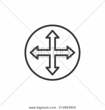 Quadro four directions arrows line icon, outline vector sign, linear style pictogram isolated on white. Fullscreen symbol, logo illustration. Editable stroke