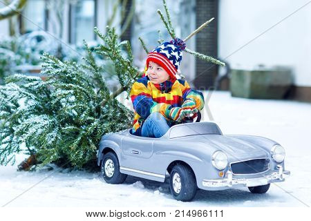 Funny little smiling kid boy driving toy car with Christmas tree. Happy child in winter fashion clothes bringing hewed xmas tree from snowy forest. Family, tradition, holiday