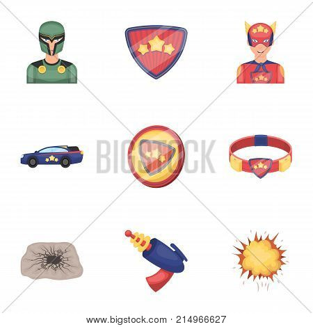 Superman, man, clothes, and other  icon in cartoon style. Weapon, explosion, fire, icons in set collection.