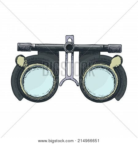 Eye optometry trial lens frame for eye vision test on white background sketch cartoon illustration of medical accessory for correct vision. Vector