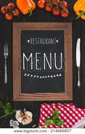 Menu, Cutlery And Vegetables