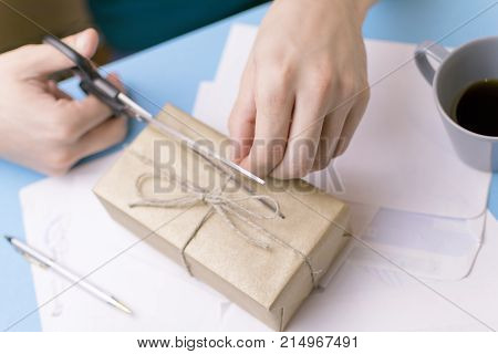 Male parses the mail. The concept of the employee of the post office.