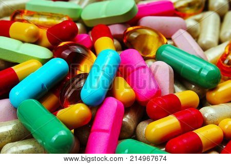 Medical or vitamin pills. Colorful medicine pills as texture. Pill pattern background. Texture background.