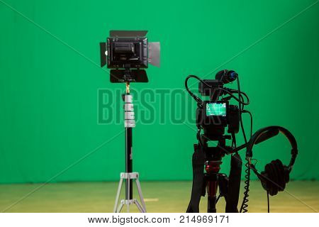 Saratov, Russia, November 21, 2017: Studio for filming on a green background. The chroma key. Lighting equipment in the Studio. Green screen.