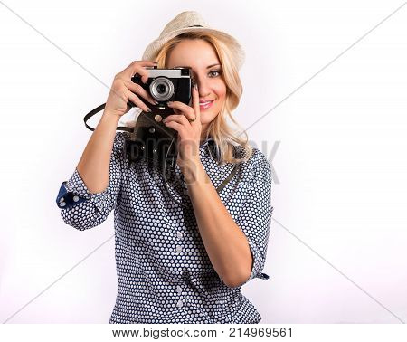 Happy pretty woman having fun with headphones against white background