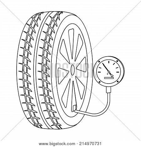 Wheel and manometer single icon in outline style for design.Car maintenance station vector symbol stock illustration .