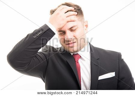 Business Man Standing Holding Forehead Like Hurting