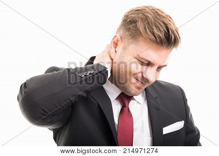 Business Man Standing Holding Neck Like Hurting
