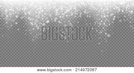 Falling Snow Flake Pattern Background. White Cold Snowfall Overlay Texture Isolated On Transparent B