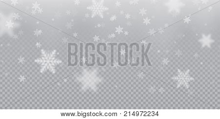 Falling Snowflake Pattern Background Of White Cold Snowfall Overlay Texture Isolated On Transparent