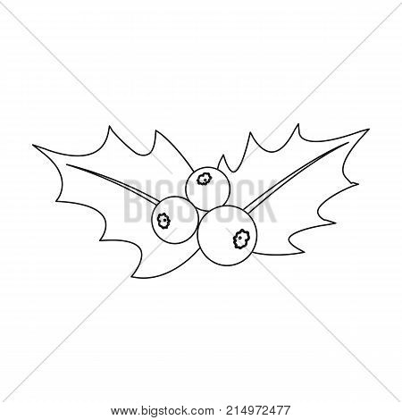 Holly symbol of Christmas single icon in outline style for design.Christmas vector symbol stock illustration .