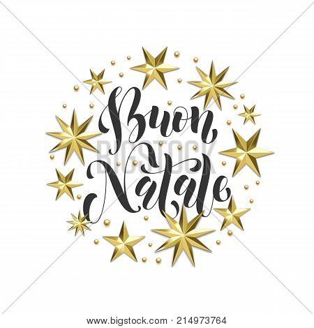 Buon Natale Italian Merry Christmas Golden Decoration, Calligraphy Font For Xmas Greeting Card Or In