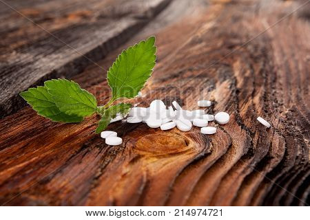 Artificial sweetener pills and aztec sugar plant on wooden table. Sugar concept.
