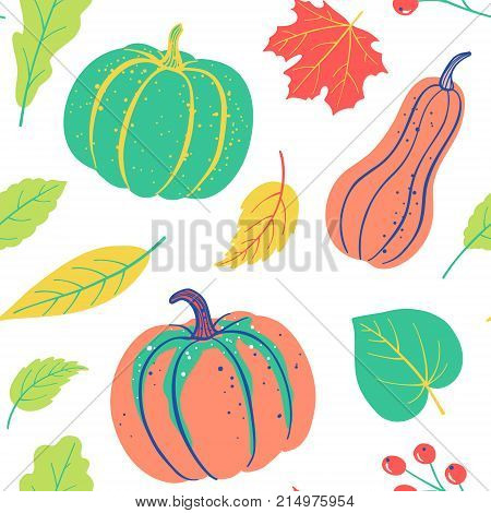 Autumnal Seamless Pattern With Pumpkin, Leaves, Berries. Vector Harvest Falling Background