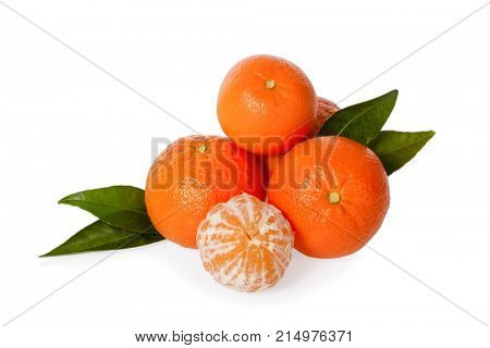 Orange Mandarines, Clementines, Tangerines or small oranges with one peeled with leaves isolated on white background, cut out or cutout