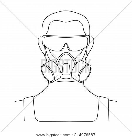 A man in a raspirator and glasses single icon in outline style for design.Pest Control Service vector symbol stock illustration .