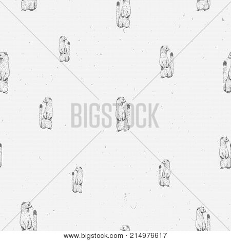 Ermine cute sketch line art seamless pattern on gray grunge background. Cute graphic animal illustration. Design for fabric, textile, decor.