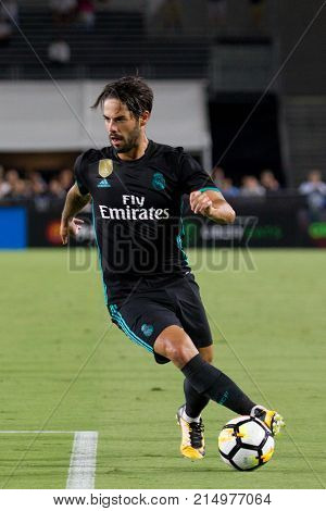 LOS ANGELES, CA - JULY 26: Isco during the 2017 International Champions Cup game between Manchester City and Real Madrid on July 26th 2017 at the Los Angeles Memorial Coliseum.