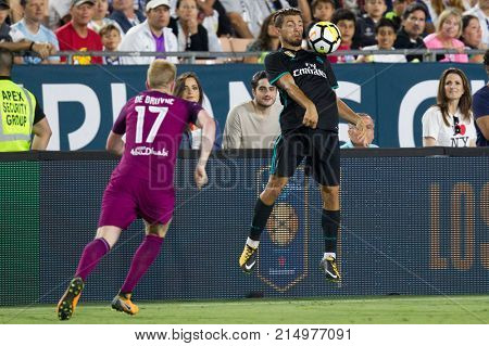 LOS ANGELES, CA - JULY 26: Mateo Kovacic during the 2017 International Champions Cup game between Manchester City and Real Madrid on July 26th 2017 at the Los Angeles Memorial Coliseum.