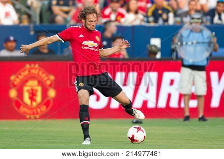 CARSON, CA - JULY 15: Daley Blind during Manchester United's summer tour friendly against the L.A. Galaxy on July 15th 2017 at the StubHub Center.