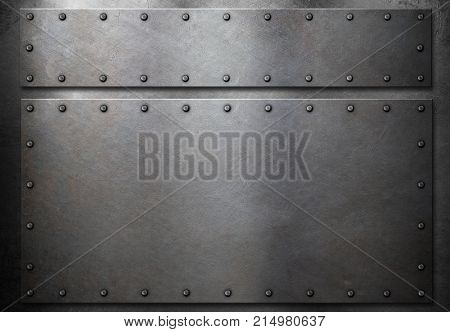 two metal plates with rivets metal background 3d illustration