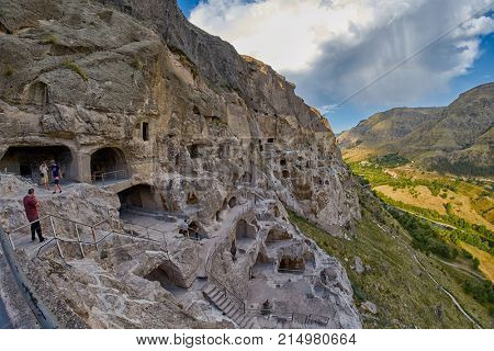 VARDZIA, GEORGIA - 06 AUGUST 2017: Famous Cave mountain city of Vardzia Landmark in Georgia