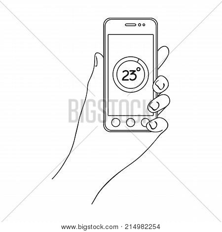 Smartphone, single icon in outline style.Smartphone, vector symbol stock illustration .